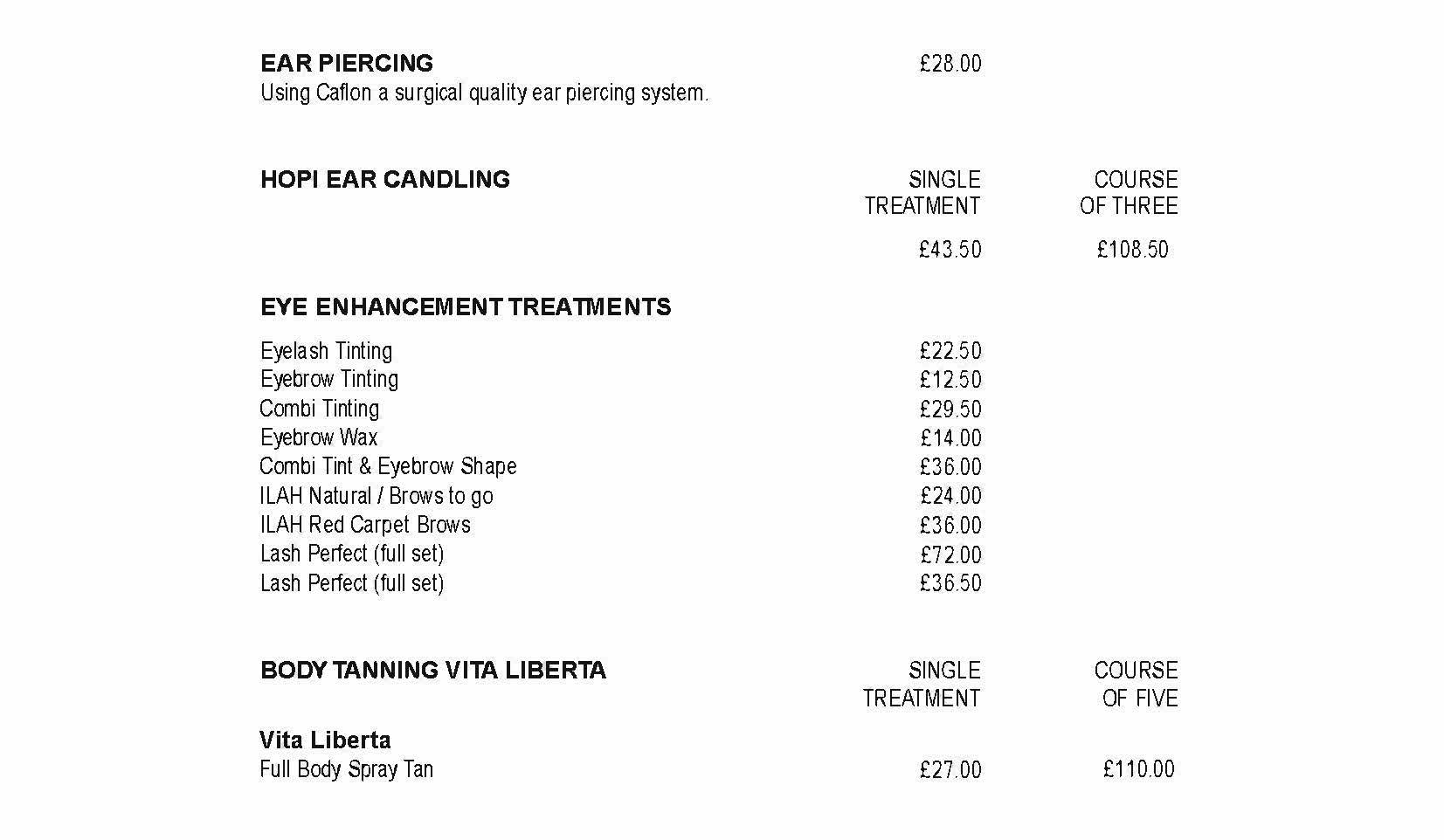 Price List - Beauty Works
